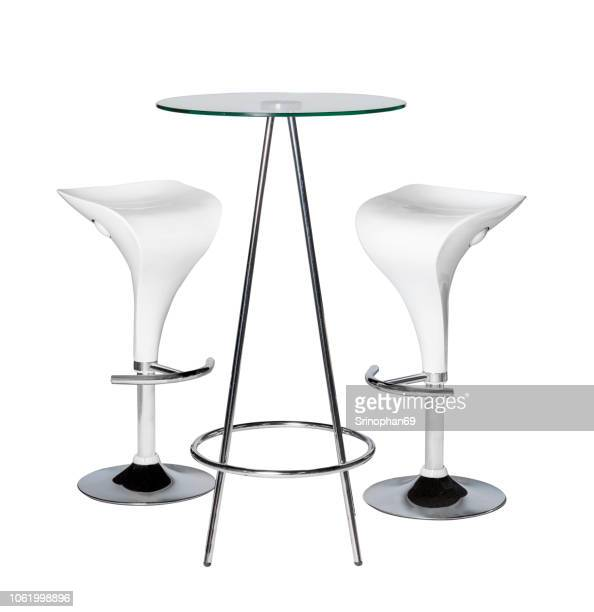 Modern Chair and Home Office Desk Decorated on White Background. Table and Modern Furniture for Office, Coffee Shop, Beauty Salon, Home Kitchen, Design Stage