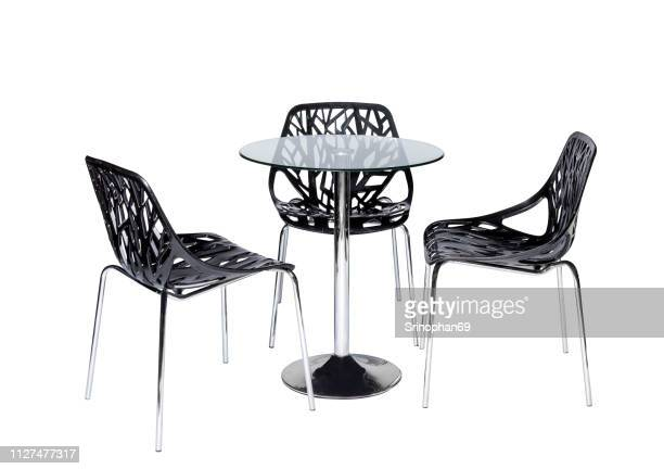 modern chair and home office desk decorated on white background. table and modern furniture for office, coffee shop, beauty salon, home kitchen, design stage - event icon set stock photos and pictures