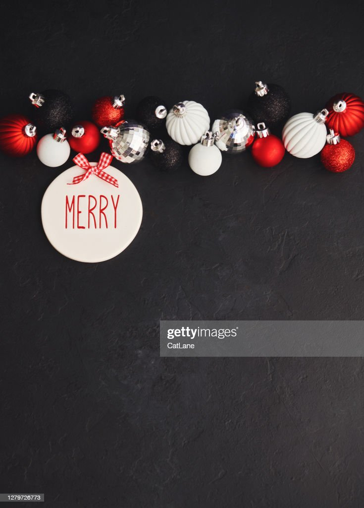 Modern Christmas Background With Red White And Black Decorations Merry Message High Res Stock Photo Getty Images