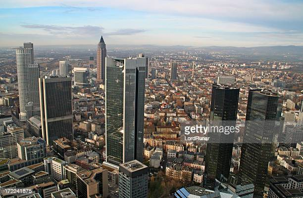 modern city aerial view ii - frankfurt main tower stock pictures, royalty-free photos & images