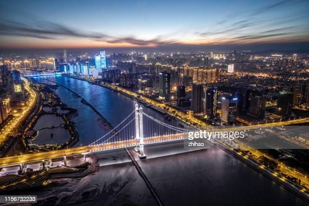 modern city bridge road traffic night view - fuzhou stock pictures, royalty-free photos & images