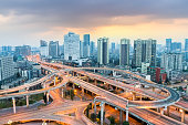modern city interchange at dusk