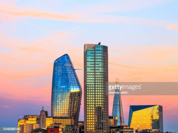 modern city skyline of london southwark at sunset - skyscraper stock pictures, royalty-free photos & images
