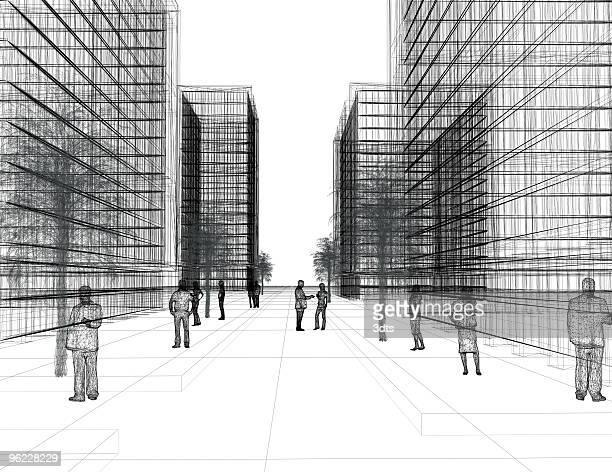 現代的な都市:通りの眺め