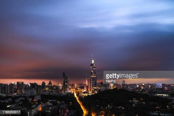 Modern city with dark cloud in typhoon
