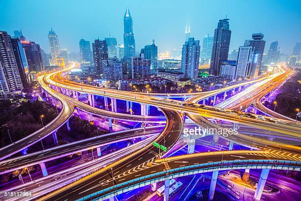 modern city with highway interchange