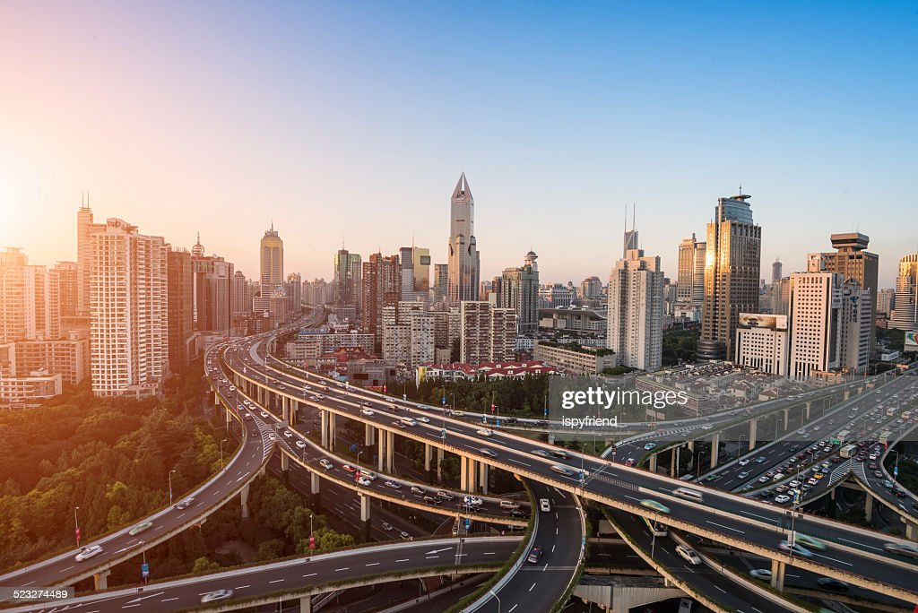 modern city with highway interchange : Stock Photo