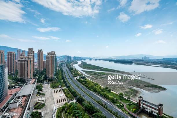 Modern cityscape and river, Fuzhou, Fujian, China