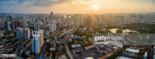 Modern cityscape at sunset