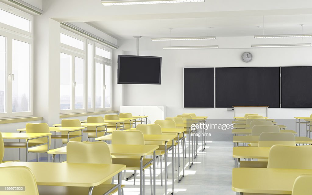Modern Classroom Board ~ Modern classroom with lcd television stock photo getty
