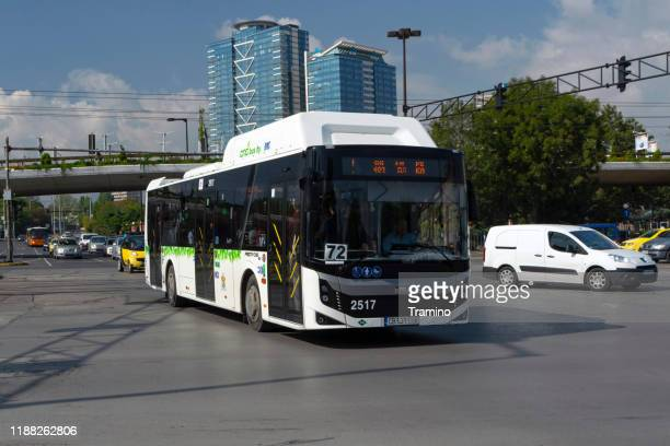 modern cng bus bmc procity on the street in sofia - sofia stock pictures, royalty-free photos & images