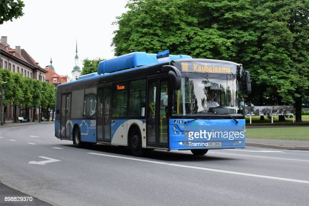 modern cng bus on the street in pärnu - estonia stock photos and pictures
