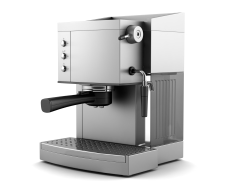 modern coffee machine isolated on white background with clipping path 120874807