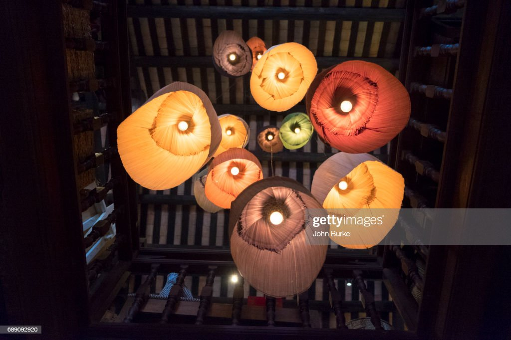 modern colorful silk lanterns in a house in Hoi An Vietnam : Stock Photo