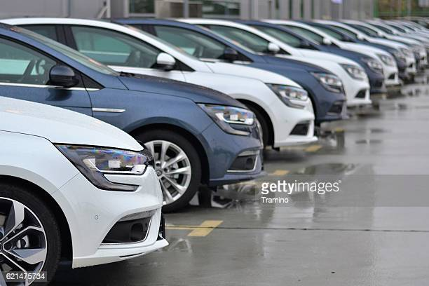 modern compact cars on the parking - renault stock pictures, royalty-free photos & images