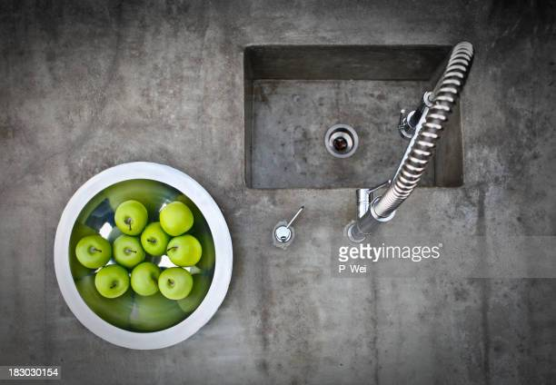 modern concrete sink - kitchen counter stock photos and pictures