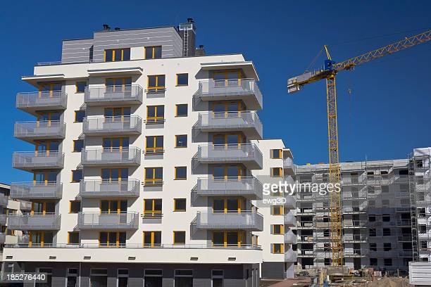 Modern condominium buildings under construction