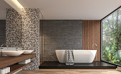 Modern contemporary bathroom with nature view 3d render