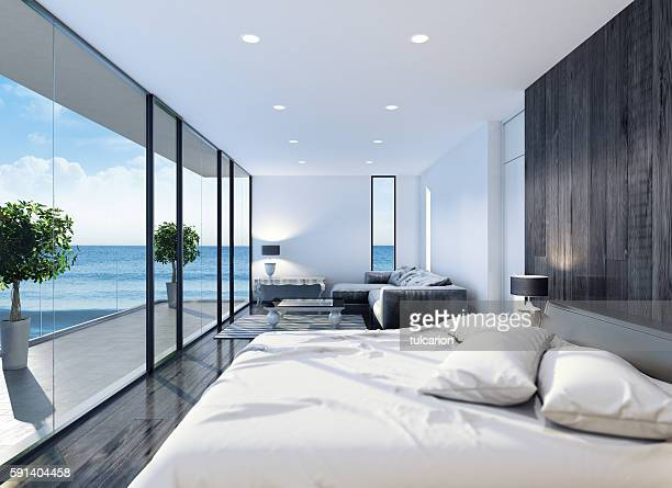 modern contemporary bedroom - villa stock pictures, royalty-free photos & images