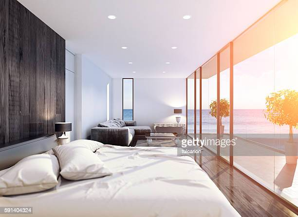 Modern Contemporary Bedroom summer scene