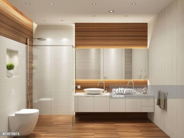 moderna casa de banho interior contemporânea com duas pias e espelho grande - banheiro estrutura construída - fotografias e filmes do acervo