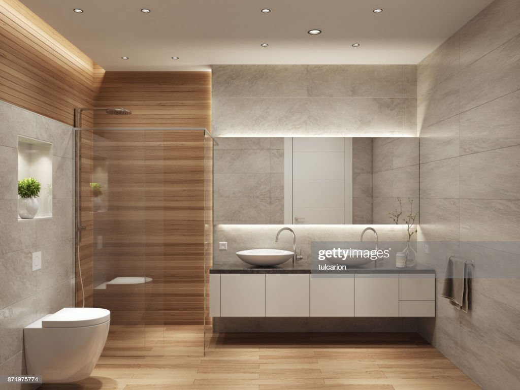 Modern Contemporary Interior Bathroom With Two Sinks And Large Mirror :  Stock Photo