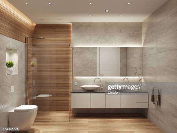 modern contemporary interior bathroom with two sinks and large mirror - bathroom stock photos and pictures