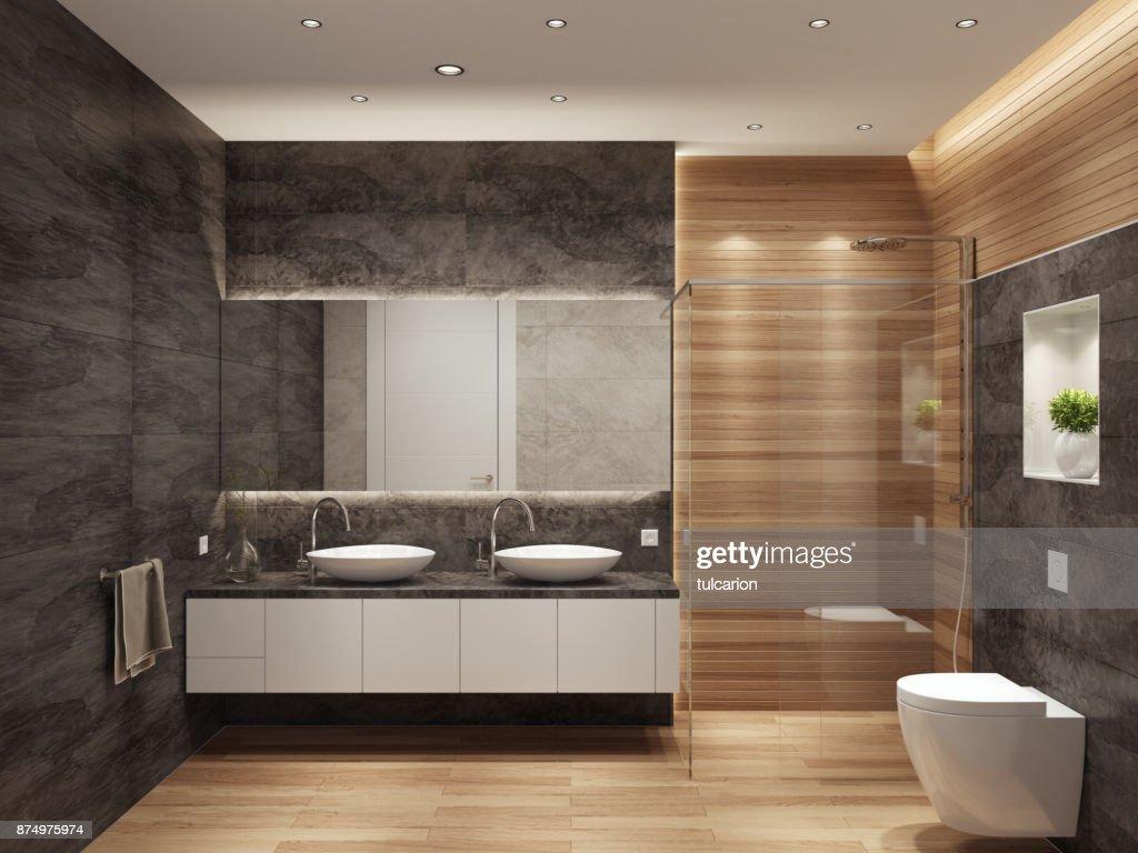 Moderne Hedendaagse Interieur Badkamer Met Twee Wastafels En Grote ...