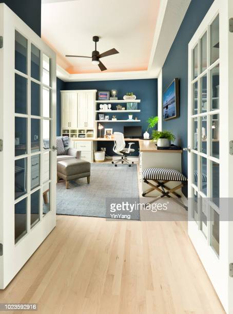 modern contemporary interior design of home office room - french doors stock pictures, royalty-free photos & images