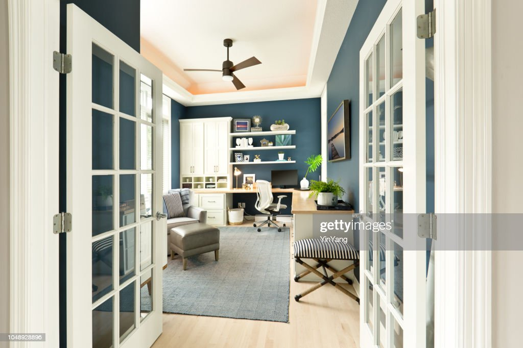 Modern Contemporary Interior Design of Home Office Room : Stock Photo