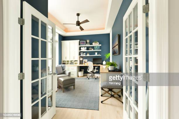 modern contemporary interior design of home office room - storage compartment stock pictures, royalty-free photos & images