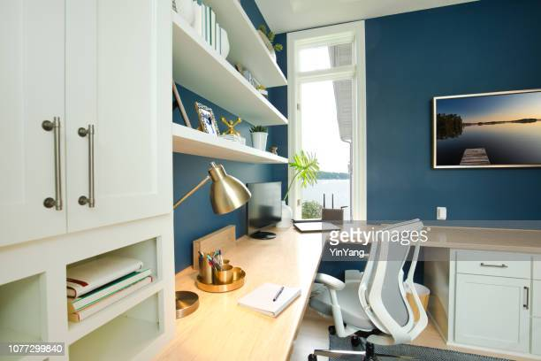 modern contemporary interior design of home office room - angle poise lamp stock pictures, royalty-free photos & images