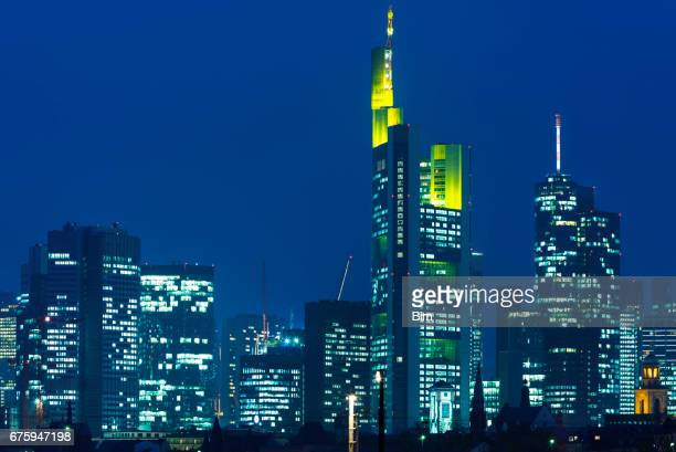 Modern Corporate Buildings in Financial District at Dusk, Frankfurt, Germany