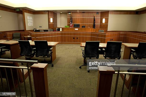 modern courtroom wide angle from gallery's point-of-view - courtroom stock pictures, royalty-free photos & images