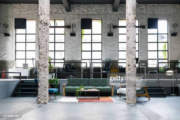 modern coworking office space, no people - hub stock pictures, royalty-free photos & images