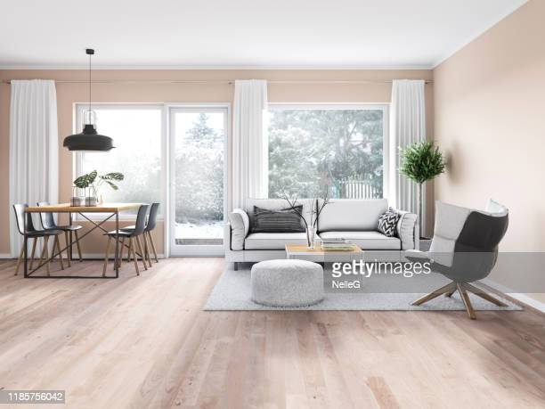 modern cozy interior - dining room stock pictures, royalty-free photos & images