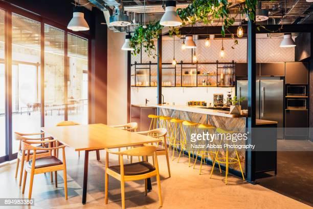 Modern creative office kitchen interior.