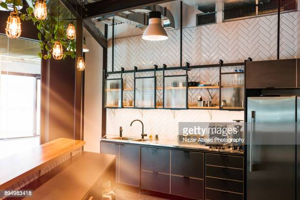 Modern creative office kitchen interior.