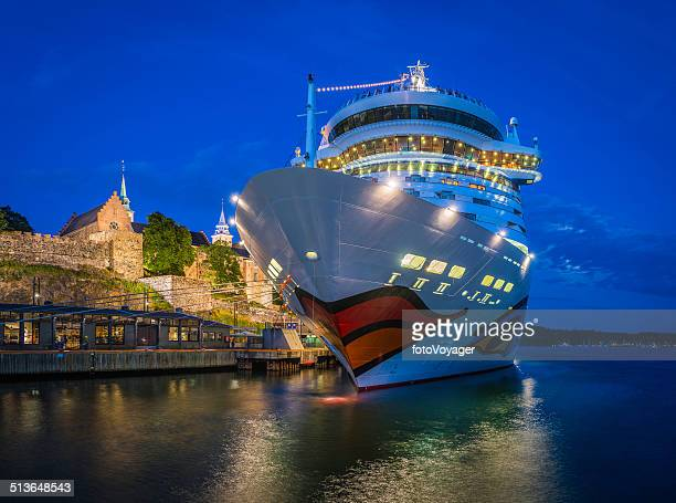 modern cruise ship moored in moonlit harbor of oslo norway - norwegian culture stock pictures, royalty-free photos & images