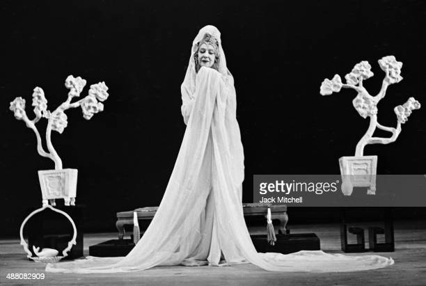 Modern dance pioneer Ruth St Denis performing 'White Jade' at Jacob's Pillow summer 1956