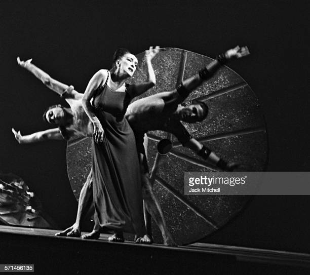 Modern dancer and choreographer Martha Graham with her company performing the premier of 'A Look at Lightning' March 5 1962