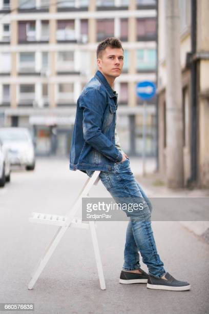 modern denim - double denim stock photos and pictures
