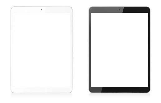 Modern Digital Tablets Isolated with Clipping Path for Screens 1097984258