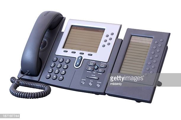 Modern digital VoIP phone (clipping path), isolated on white background