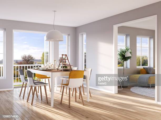 modern dining and living room - dining room stock photos and pictures