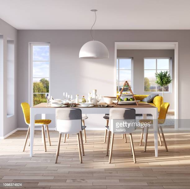 modern dining room interior - dining room stock photos and pictures