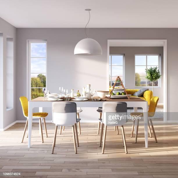 moderne eetkamer interieur - eettafel stockfoto's en -beelden