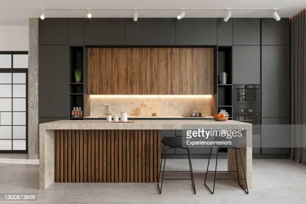 modernes esszimmer-interieur - küche stock-fotos und bilder