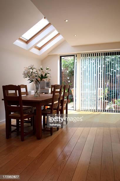 Modern dining room kitchen.