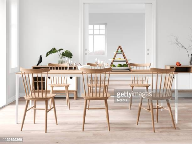 modern dining room - dining room stock photos and pictures